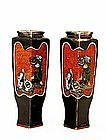 2 Old Japanese Sumida Gawa Vase w Boy Play Drum Sg