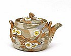 Old Japanese Banko Ware Moriage Tapestry Teapot