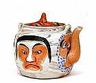 Old Japanese Banko Ware 5 Noh Mask Teapot w Oni