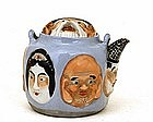 Old Japanese Banko Ware 7 Lucky God Hotei Teapot Mk