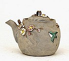Old Japanese Banko Ware Moriage Flower Bird Teapot