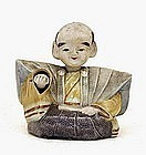Old Japanese Banko Ware Nodder Hand Samurai Figurine