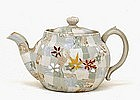 Old Japanese Banko Ware Tapestry Moriage Teapot