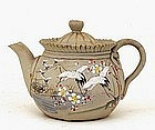 Old Japanese Banko Ware Moriage Teapot w Flying Crane