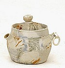 Japanese Banko Ware Marble Tapestry Mini Teapot w Ring