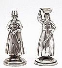Japanese Sterling Silver Salt Pepper Korean Figurine Mk