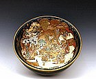 Meiji Japanese Green Satsuma Bowl w Figurine Sg