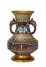 Old Japanese Bronze Champleve Cloisonne Enamel Vase