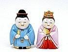 Old Japanese Toshikane Imari Geisha Doll Salt & Pepper