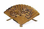 Old Japanese Mixed Metal Fan Bird Place Card Holder