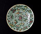 Old Chinese Export Celadon Famille Rose Plate Mk