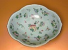 Old Chinese Export Celadon Famille Rose Bowl Bug