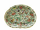 19C Chinese Export Celadon Famille Rose Kidney Plate