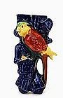 Old Japanese Banko Ware Style Parrot Bird Wall Vase