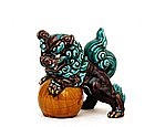 Japanese Kutani Green Purple Fu Foo Dog Lion Shishi