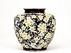 Lg Japanese Ando Cloisonne Pigeon Cherry Flower Vase