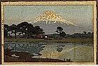 Old Japanese Woodblock Print Yoshida Suzukawa Landscape