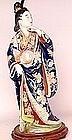 Lg Meiji Japanese Kutani Geisha Bijin Figurine Lamp