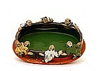 Old Japanese Sumida Gawa 6 Figurine Bowl Ryosai