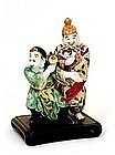 Old Japanese Kutani 2 Dancing Figurine Daikoku & Ebisu