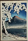 Old Japanese Woodblock Print Hasui Snow Scene In The Fu