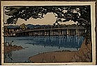 Old Japanese Woodblock Print Yoshida Seta Bridge