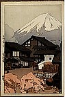 Old Japanese Woodblock Print Yoshida Fuji from Funatsu