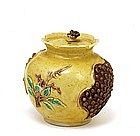 Old Chinese Export Famille Rose Pomegranate Shape Jar