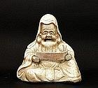 Old Japanese Studio Porcelain Figure Sage Read Scroll