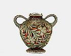 Old Japanese Moriage Nippon Flower & Leaf Vase