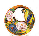 Old Japanese Banko Ware Parrot & Peony Wall Vase