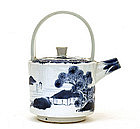 Old Japanese Blue & White Imari Teapot Winepot