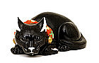 Old Japanese Kutani Black Sleeping Cat Neko Mk