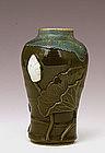 Old Japanese Sumida Gawa Lotus Flower Leaf Vase