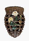 Old Japanese Banko Ware Basket Wall Vase w Circa