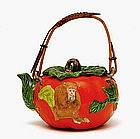Old Japanese Banko Ware Persimmon Teapot w Monkey