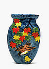 Old Japanese Banko Ware Maple Leaf Bird Wall Vase