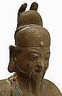 19C Chinese Bronze Buddha Warrior Deity Figurine