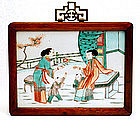 Old Chinese Famille Verte Plaque Figurine w Wood Frame
