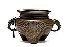 18C Chinese Silver Wire Bronze ShiSou Censer