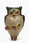 Old Japanese Banko Ware Owl Bird Wall Pocket Vase
