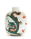 Old Chinese Famille Rose Dragon Snuff Bottle