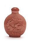 Old Chinese Pink Peking Glass Snuff Bottle w Rabbit