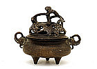 19C Chinese Xuande Bronze Censer Elephant Ear Squirrel
