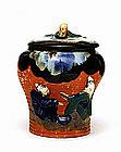Old Japanese Sumida Gawa Figurine Humidor Jar
