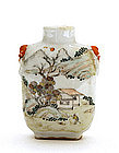 Old Chinese Famille Rose Figurine Snuff Bottle Mk