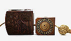 Japanese Wood Netsuke Manju Toggle Inro Compass Watch