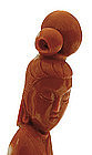 Chinese Red Coral Carved Lady Figurine Figure