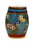 Old Chinese Gilt Bronze Cloisonne Humidor Cov Jar
