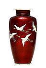 Old Japanese Ando Pigeon Blood Cloisonne Vase Crane